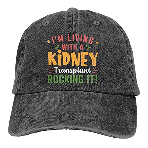 Leumius Trasplante de riñón Trasplante de órganos - 3 sombrero, gorra de béisbol ajustable vintage para mujeres y hombres, Negro, Talla única