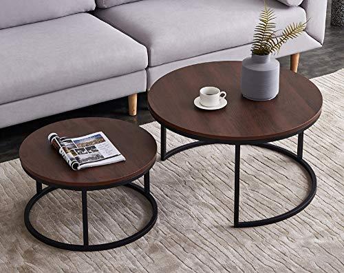 DADEA Couchtisch Set 2 Stück, Holz Metall Beistelltisch Rundes Set, Tischkombination fürs Wohnzimmer, Balkon, klein Satztisch Set, Wohnzimmertisch Modern Industrieller Stil Beistelltisch Rundes