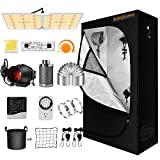 Spider Farmer Grow Tent Kit Complete SF-2000 LED Grow Light Dimmable Full Spectrum Use Samsung Diodes MeanWell Driver 24' x 47' x 71' 1680D Growing Tent 4 Inch Ventilation System Setup Package