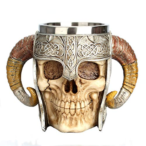 Posacenere Fashion Skull Horn Mug Flowerpot Posacenere personalità Boccale da Birra a Due Manici Multifunzione (Color : Multi-Colored, Size : F)