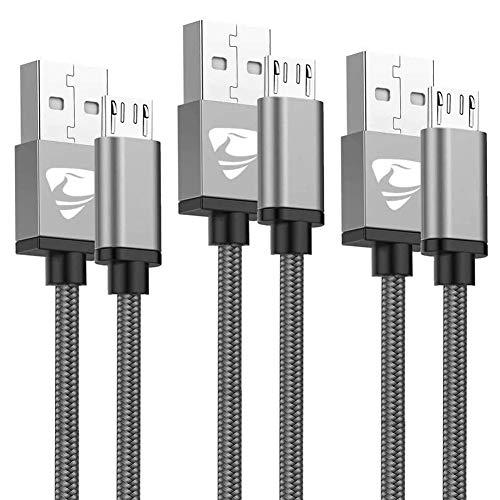 Aioneus Cavo Micro USB [3 Pezzi:15M,2M,3Metri] Nylon Intrecciato Cavo Android Ricarica Rapida e Trasferimento Dati Caricabatterie per Samsung S7/S6/S5/J7/J6/J5,PS4,Huawei, HTC, LG, Kindle, Sony