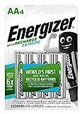 Energizer Piles Rechargeables AA, Recharge Extreme, Lot de 4