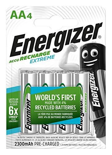 Energizer Batterie Ricaricabili AA, Recharge Extreme, Confezione da 4