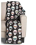 Thro Luxury Fleece Sherpa Decorative Throw Blanket Toss Sugar Skulls Mexican Day of The Dead Colorful on Black