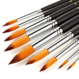 WLOT Acrylic Paint Brush Set - 9 Taklon Brushes,Long Handle - Ideal Brush