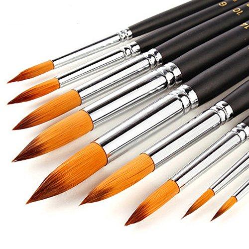 Golden maple Pennelli Pittura per Acquerello,Colori a Alio,Nail Art. (9 Pezzi-pennelli Acquerello&Colori a Olio)