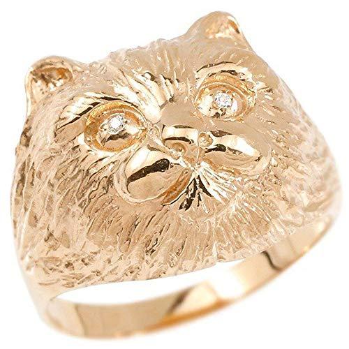 [アトラス]Atrus リング レディース 10金 ピンクゴールドk10 ダイヤモンド 猫 幅広 指輪 宝石 22号