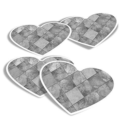 Pegatinas de vinilo con forma de corazón (juego de 4) – BW – Bonitas baldosas de diamante divertidas calcomanías para portátiles, tabletas, equipaje, reserva de chatarra, frigoríficos #38492