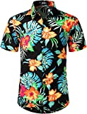 JOGAL Men's Flower Casual Button Down Short Sleeve Hawaiian Shirt Black Orange Medium