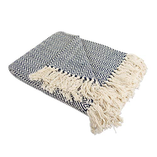 """DII Rustic Farmhouse Cotton Chevron Blanket Throw with Fringe For Chair, Couch, Picnic, Camping, Beach, & Everyday Use , 50 x 60"""" - Mini Chevron Nautical Blue"""