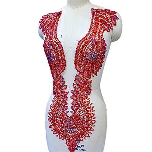 YUNSI Gran Mano Cerdo de Plata. AB Coser en Rhinestones Cristales Piedras Apliques Diseño Ropa Parche for Vestido de Novia (Color : Red)