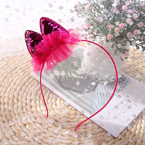 ZADAWERK® haarband - hazenoren/kattenoren - omkeerbare pailletten - zijdelings - roze