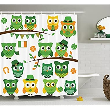 Ambesonne St. Patrick's Day Shower Curtain, Irish Owls with Leprechaun Hats on Trees Shamrock Leaves Horseshoe, Fabric Bathroom Decor Set with Hooks, 70 Inches, Green and White