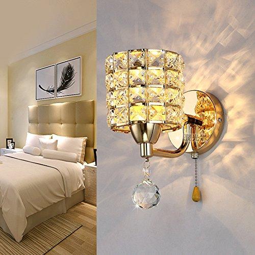 Bedzijde goud LED kristal wandlamp wandlamp slaapkamer eenvoudige moderne woonkamer TV muur leeslamp 12 * 22 cm afstand wand 18 cm