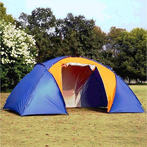 XTBB 5-8 Person Big Camping Tent Double Layer Waterproof Two Bedrooms Travel Tent For Family Party Travel Fishing 420X220X175Cm Blue