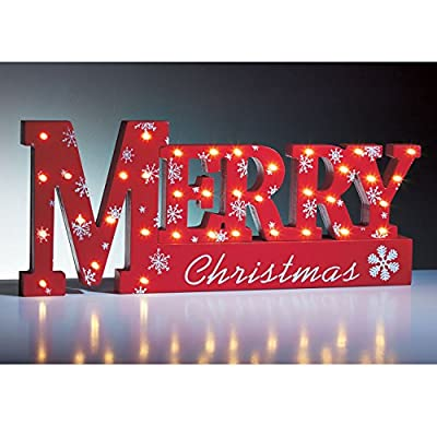 Red 37 LED Merry Christmas Sign- table top windowsill light