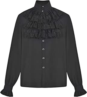 f82ae5a807 Sex icon Mens Gothic Steampunk Ruffle Top Victorian Cosplay Pirate Plus  Size Long Sleeve Shirt