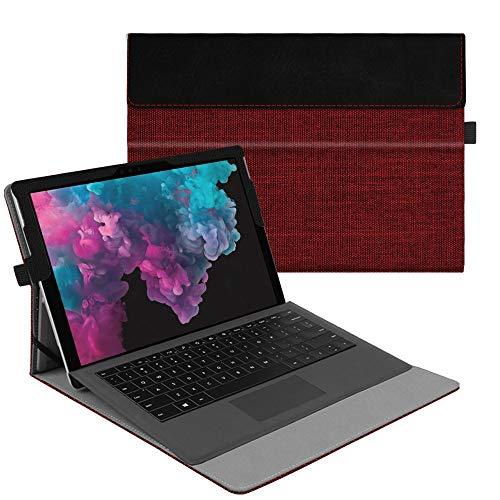 Fintie Hülle für Microsoft Surface Pro 7+/ Pro 7/ Pro 6/ Pro 5/ Pro 4/ Pro 3 12,3 Zoll Tablet - Multi-Sichtwinkel Hochwertige Tasche Schutzhülle aus Kunstleder, Type Cover kompatibel, Dunkelrot