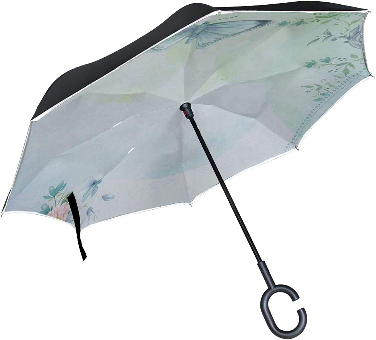 Double Layer Ingreened Butterfly Vintage Collage Sky Modern Butterflies 1064162 Umbrellas Reverse Folding Umbrella Windproof Uv Predection Big Straight Umbrella For Car Rain Outdoor With Cshaped Handle