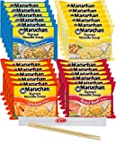 By The Cup Chop Sticks and Soup Variety, 4 Flavor Assortment, 3 Ounce Single Serving Packs Maruchan Ramen Noodle Soup, 6 of each Soy, Creamy Chicken, Roast Beef and Chicken Flavor (Pack of 24)