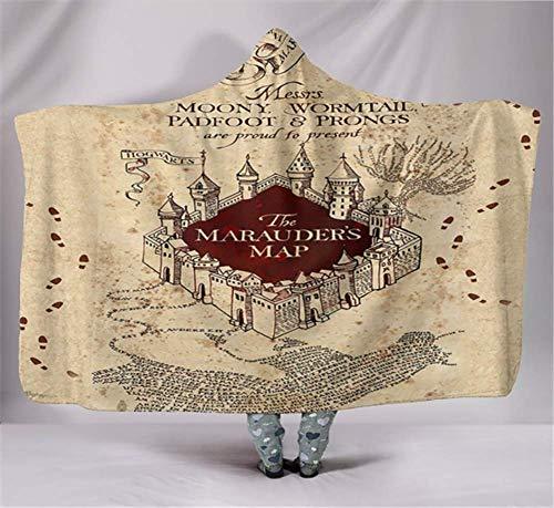 Coperta con cappuccio di Harry Potter, stampa digitale, in velluto artico doppio strato, mantello spesso, caldo e che non sbiadisce, 130 x 150 cm