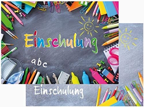 10 XL-Einladungen zur Einschulung INKL. passenden Umschlägen, im DIN A 5-Format (21 x 14,8 cm), farbenfrohe und liebevoll gestaltete Einladungskarten für den Schulbeginn/Schulanfang (10983)