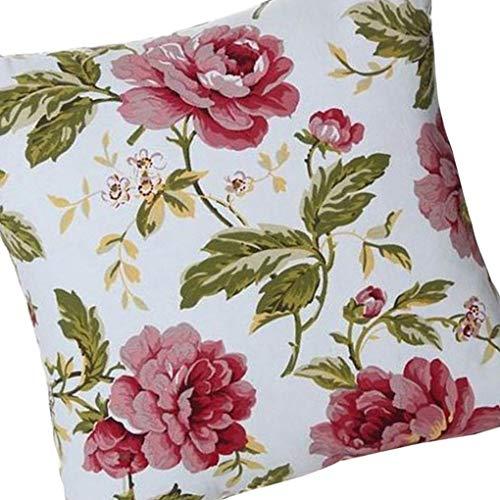 babysbreath17 45x45 cm Peony Lino Poliéster Sofá Cojín Caja de Almohada cojín de la Flor Decoración Almohadilla de Tiro de la Cubierta
