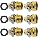 Triumpeek Garden Hose Repair Connector with Clamps, Set of 3 Aluminum Water Hose End Replacement Fit for 3/4' and 5/8' Garden Hose Fittings