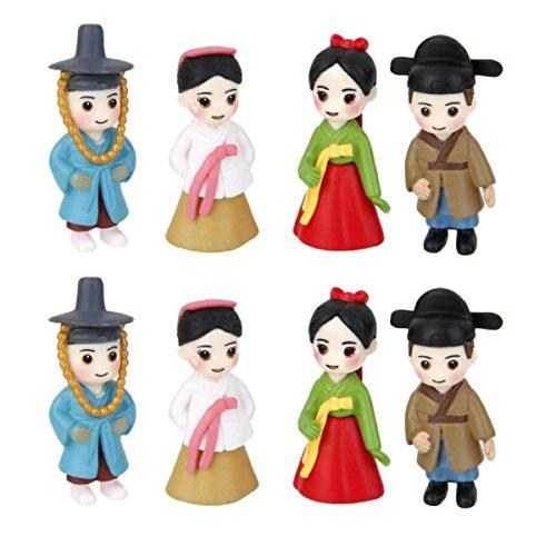 Gazechimp 4 Paires Couples Coréens Miniature Figurine Décoration pour Jardin de Fée Maison Poupée