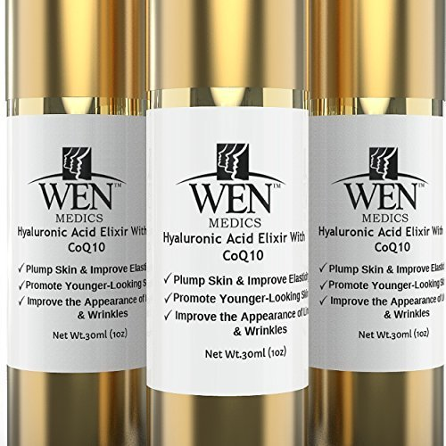 Revealed. How women everywhere are looking decades younger in just 21 days - WENmedics Hyaluronic Acid Elixir with CoQ10 30ml - Minimize the Appearance of Laugh Lines, Crows Feet & Facial Wrinkles by WENmedics