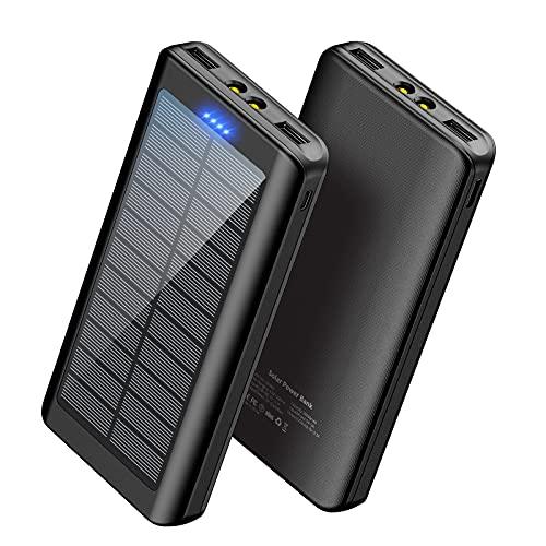 Solar Charger Power Bank 30000mAh - YPWA Portable Charger Power Bank Solar Phone Charger 2 USB...