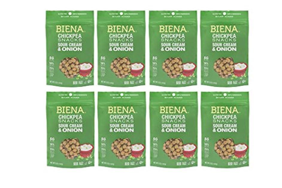 Biena Vegan Non-gmo Baked Chickpea Snacks, Sour Cream & Onion, 8Count