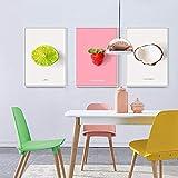CNHNWJ Früchte Bilder Avocado Ananas Erdbeer Kiwi Poster