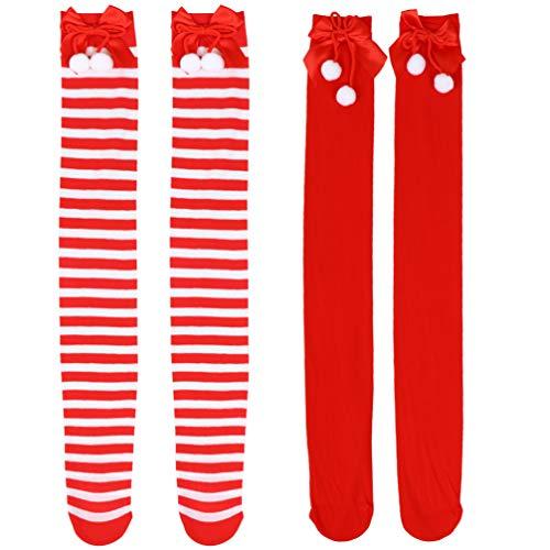 Amosfun 2 Paare Weihnachten Kniestrümpfe Damen Overknee Strümpfe Warme Streifen Lange Socken Gestreifte Strumpfhose für Kinder Weihnachtsgeschenke Winter Geburtstag Xmas Party Kostüm Cosplay