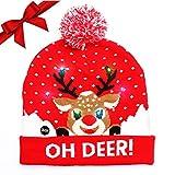 LED Weihnachtsmütze Erwachsene - Unisex Nikolaus Mütze mit Bommrel - Rote Dehnbare Strickmütze mit 6 LED-Lichtern - Rentier & Schneefall bedruckt - Leuchtende-Weihnachtsmütze für Weihnachtsfeier (rot)