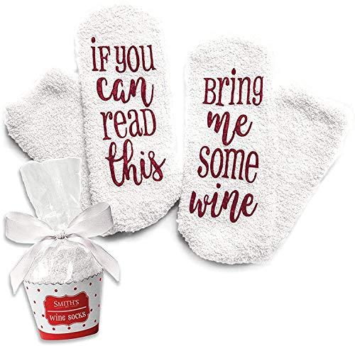 Lustige Socken für Frauen Mädchen, Wenn Sie Dies lesen können, bringen Sie Mir etwas Wein Bequeme Socken Geschenke für Liebhaber, Mutter, Frau oder Freund (Weiß)