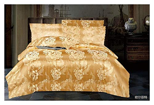 Zara's Goldfarbenes Jacquard-Bettwäsche-Set aus Seide mit Kissenbezügen und Spannbetttuch, für Doppel- und King-Size-Betten (Doppelbett)