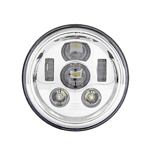 Skuntuguang - Faro LED de 17,78 cm para Harley Davidson (cromo)