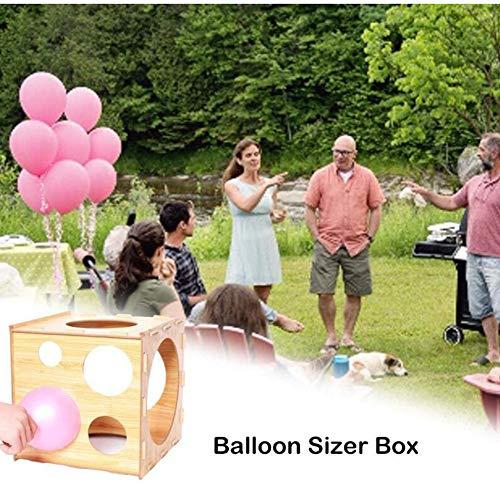 Box Het meten van ballonnen voor Houten, met 9 Holes het meten van de Ballonnen Decoratie, verjaardagen, bruiloften,Yellow
