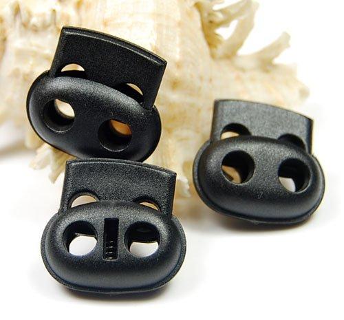 50 pcs Plastique 5 mm Trou Cordon Lock Bean Bascule Arrêtoir Noir 25 Mmx23 mm Sportswear Vêtements Sacs Bracelet en paracorde Corde pièces accessoires
