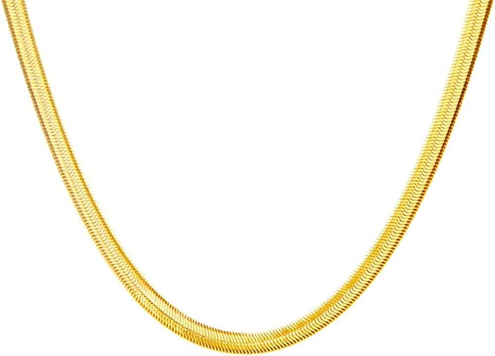 Snake Chain Choker Necklace for Women Girls Men Titanium Stainless Steel Italian Link Chain Herringbone Round Thin Flat Claw Clasp Magic Dainty Shiny Vintage Charm Collar Jewelry Gifts