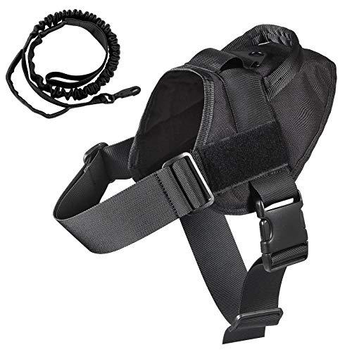 K9 - Arnés táctico para perro militar, chaleco de entrenamiento Molle ajustable, arnés K9 con asa, color negro, talla S