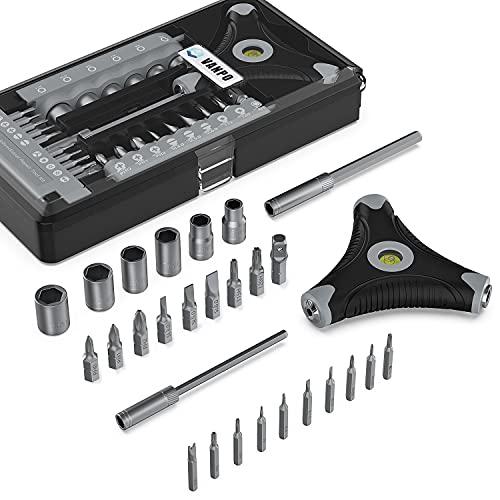 VANPO Schraubendreher Set, 28 in 1 Mini Schraubenzieher Set, Magnetische Feinmechaniker Werkzeug Set, Handy Reparatur Screwdriver Set mit Wasserwaage für Fahrrad/Smartphone/Laptop/Tablet/Uhren/Kamera