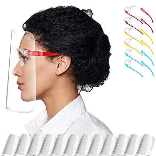 Pantalla Protección Facial Transparente para Adultos y Estudiantes, Visera Protectora Face_Shield_Visor(con 12 viseras reemplazables y 6 monturas de gafas reutilizables)