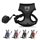 Cat Harness and Leash Set - Escape Proof Adjustable Soft Cat Puppy Vest Breathable with Reflective Strips, Easy Control Cat Jacket for Small, Medium, Large Cats Outdoor Walking(Black Color, M Size)