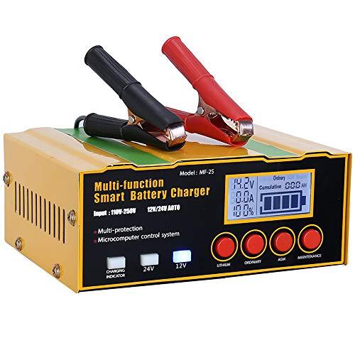 Aibeau Ladegerät Autobatterie 12A 12V/24V KFZ Batterieladegerät Vollautomatisches Intelligentes Erhaltungsladegerät Geeignet für Lithiumbatterien, AGM / Blei-Säure-Batterien