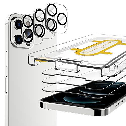 EGV Compatibile con iPhone 12 Pro Max Protector de Pantalla,3 Pack Cristal Templado e 3 Pack Protector de Lente de Cámara