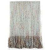 Aqua Blue Color 100% Acrylic Faux Mohair Cozy Decorative Throw Blanket 50' X 60' (1 Piece).