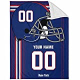New York Plush Throw Blanket Custom Any Name and Number for Men Women Youth Gifts