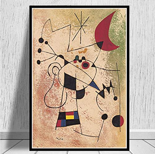 QINGRENJIE Berühmter Maler Joan Miro Moderne Kunst Gemälde Abstraktes Bild Retro Poster Und Drucke Wandkunst Leinwand Wandbilder Für Wohnzimmer Wohnkultur 50X70 cm Ohne Rahmen